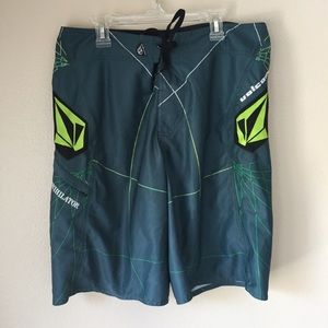 Teal and Green Boardshorts